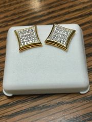 Sterling Silver Yellow Color, 67867, Screwback Earring