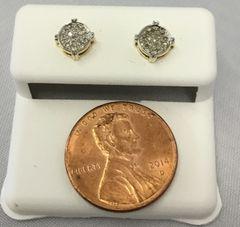 10K Yellow Gold Round White Diamond VS1 Earrings