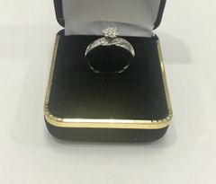 10KT Solid White Gold, Real Diamond Lady Rings, E146