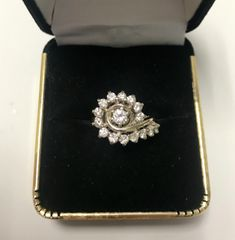 14KT Solid White Gold, Real Diamond Lady Rings, E223