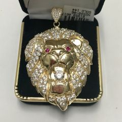 10KT Solid Yellow Gold, Big Lion Face Pendant E233