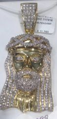 Abdul Solid Yellow Gold 3ct real diamond Jesus Pendant