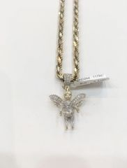 10KT Solid Yellow Gold Rope With Angle Diamond Charm, 117992