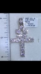 14K Solid Yellow Gold Real Diamond cross Pendant A 33802