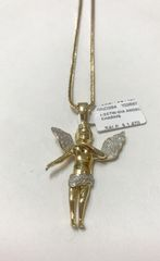 10KT Solid Yellow Gold Franco Chain With Real Diamond Angle Charm, 102697