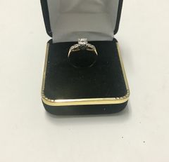 14KT Solid Yellow Gold, Real Diamond Lady Rings, E154