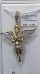 10k solid yellow gold diamond Angel Pendant 111468