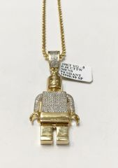 10KT Solid Yellow Gold Beats Chain With Robot Charm, 32773