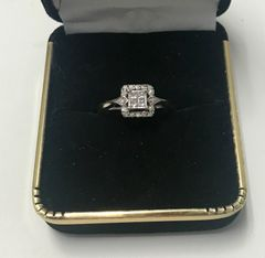 10KT Solid White Gold, Real Diamond Lady Rings, E217