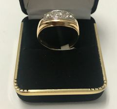 14KT Solid Yellow Gold, Real Diamond Man Rings, E181