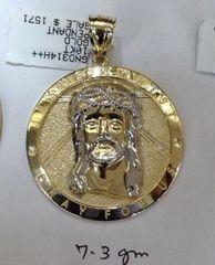 10K Solid Yellow Gold m Jesus Round Pendant