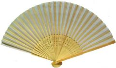 Folding Fan, Wood Stays and off white silk