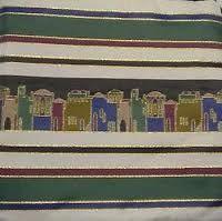 "Talit Bag Jerusalem Earth Tones Size: 11.5"" x 11"" Made in Israel"