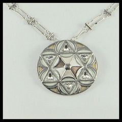 "Necklace Star Of David 1-3/4"" Diameter With 21"" Long Chain Designed By Margalite, One Of A Kind Piece. Made In Israel"