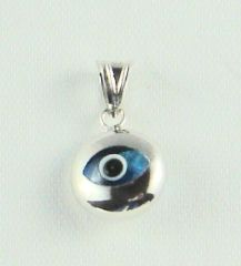 "Charm Blue Eye ""Round"" SS - Approx 1/2"""