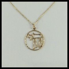 Charm Chai 1 Inches Circle 14kt Gold, Chain Sold Separately