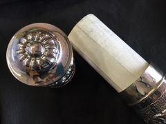 Kosher / Handwritten Megillah Esther Scroll In Silver Plated Case 17 Inches H X 3 Inches Diam ONE OF A KIND!!!- Made In Israel