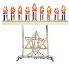 "Electric Menorah Brass ""Star of David/Mother of Pearl"" includes Bulbs"