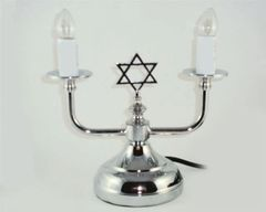 Electric Silver Candleholders W/Bulbs Included 7 Inches H X 8 Inches W X 4.25 Inches Diam Base