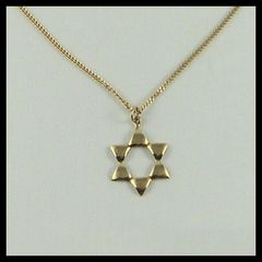 Star Of David 7/8 Inches 14 Kt - 16 Inches - 14 Kt Gold Chain Sold Separately