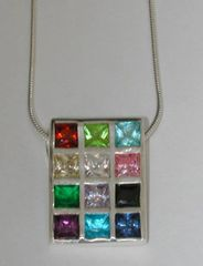 Choshen Necklace Large Silver with Colored stones - SS