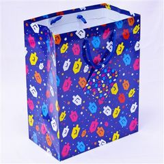 Hanukkah Gift Bag -Colorful Dreidels Design w/Card - Size : 7 x 4 x 9