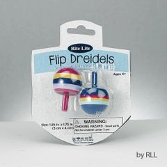 2 Wood Flip Dreidels - Assorted Colors