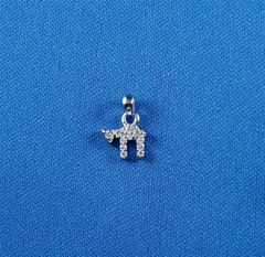 Charm Chai Mini Sterling Silver With Zirconia 1/2 Inches - Made In Israel