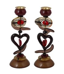 "Emanuel Poly Candlesticks 9""- Red Heart"