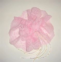 Lace Hat Cover Pink Color With Beads And Comb