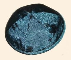 Kippah Suede Green Flower
