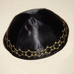 Kippah Satin Black w/Gold Stars border
