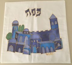 Matzah Cover Hand Painted on Pure Silk Jerusalem Design by Yael - Made in Israel