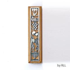 "Boxwood Mezuzah with Metal Design - 5"""