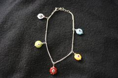 Sterling Silver Anklet With Colored Eyes Beads W/Adjustable Clasp 10 In Length Open - Closed From 4.5 In To 5.5 In Diameter