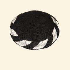 Kippah Crochet Black w/White-Gray Border