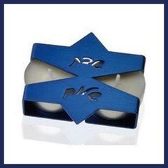 Candleholder Travel Aluminum Blue - 3 Inches W X 2.75 Inches D X 5/8 Inches H Uses Tea Lights - Made In Israel By Adi Sidler