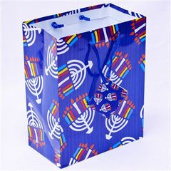 Hanukkah Gift Bag - Menorahs Design w/Card - Size : 7 x 4 x 9