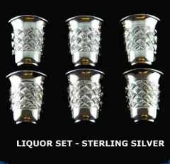 Liquor Set Of 6 Cups 1.75 Inches Tall Sterling Silver Made In Israel