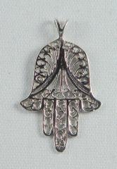 "Necklace Chamsah 1-3/8"" Long With, Sterling Silver INCLUDES 18"" STERLING SILVER CHAIN"
