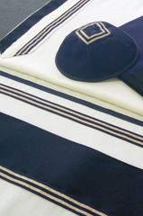"""Talit Set Wool Navy Blue/Silver 20"""" x 80"""" Made in Israel by Eretz Judaica"""