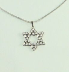 """Necklace Star Of David Crystals 1"""" X 1"""" includes a Chain 20"""" Long - Sterling Silver"""