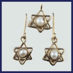 Gold Filled Set Earrings And Star Of David Necklace , Made In Israel