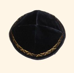 Kippah Velvet Black W/Gold Border Embroidered