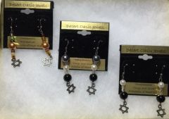 "Earrings ""Onyx and Silver"" and ""Fire and Ice"" Designs - A Division of Desert Kippot"