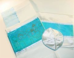 Talit Set Painted Jerusalem Teal 18 Inches X 72 Inches (Talit/Bag & Kippah) Made In Israel