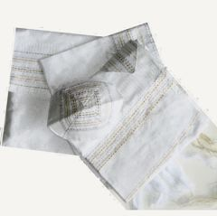 Talit Set Silk White/Gold/Silver 20 Inches X 72 Inches Hand Made By Gabrieli - Made In Israel