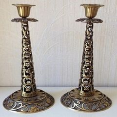 Large Heavy Brass Candleholders 12.5 In H X 5 3/8 In Diam Base - Made In Israel By Oppenheim