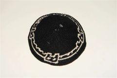 Kippah Hand Crochet Black With Jerusalem Design