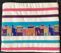 """Talit Bag Jerusalem Primary Colors - Size:11.5"""" x 11"""" - Made in Israel"""